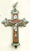 "Rosewood Fleur-de-lys Crucifix - 1.75"" - Wood and Nickel Silver"