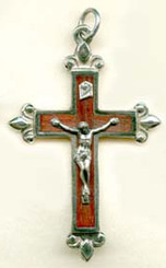 "Rosewood Fleur-de-lys Crucifix - 2.125"" - Wood and Nickel Silver"