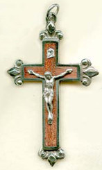 "Rosewood Fleur-de-lys Crucifix - 2.5"" - Wood and Nickel Silver"