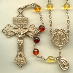 Rosary from gallery of rosaries handmade by nuns: Baltic Amber beads, Gold Filled,  Pardon crucifix, St. Benedict Medal center, Miraculous Medal side
