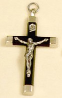 "Ebony Metal Back Crucifix - 2.5"" - Wood and Nickel Silver"