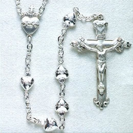 Rosary from gallery of rosaries handmade by nuns: Sterling Silver rosary, Sacred Heart of Jesus beads
