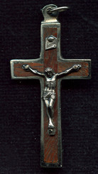 "Rosewood Wood Back Crucifix - 1.874"" - Wood and Nickel Silver"