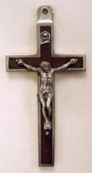 "Rosewood Metal Back Crucifix - 2.75"" - Wood and Nickel Silver"