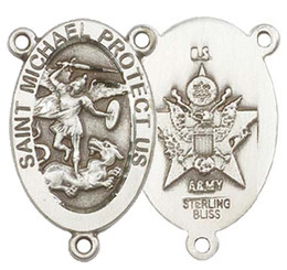 """St. Michael / Army - .875"""" Oval - Sterling Silver Double Sided Centerpiece"""