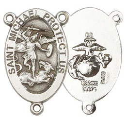 """St. Michael / Marines - .875"""" Oval - Sterling Silver Double Sided Centerpiece"""