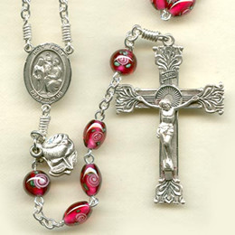 Rosary from a gallery of rosaries handmade by nuns: Garnet Oval Czech Lampwork Rose Beads with Sterling Silver parts