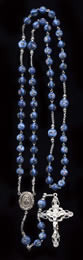 Blue Round Czech Lampwork Rose Beads