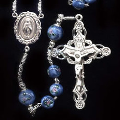Rosary from a gallery of rosaries handmade by nuns: Blue Czech Lampwork Rose Beads with Sterling Silver parts and Embellished 10 mm Our Father beads
