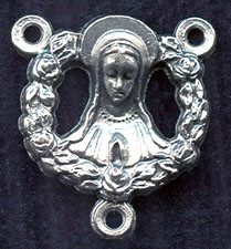 """Our Lady with Ring of Roses - .75"""" - Nickel Silver Centerpiece"""