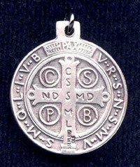 Sterling Silver St. Benedict Medal (front)