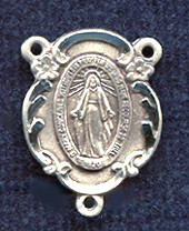 "Floral Miraculous Medal - .625"" - Sterling Silver Centerpiece"