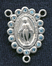 "Miraculous Medal With Aqua Crystal - .75"" - Sterling Silver Centerpiece"