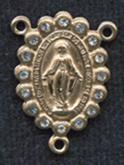 "Miraculous Medal With Clear Crystal - .75"" - Gold Filled Centerpiece"
