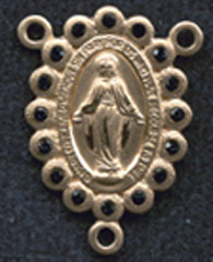"Miraculous Medal With Black Crystal - .75"" - Gold Filled Centerpiece"