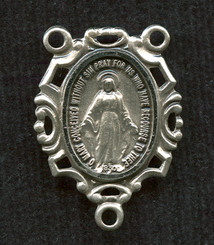 "Miraculous Medal with Geometric Frame - 1"" - Sterling Silver Centerpiece"