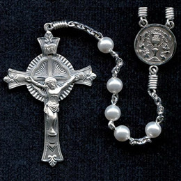 First Communion rosary handmade by nuns, Swarovski Crystal Pearl beads, sterling silver parts