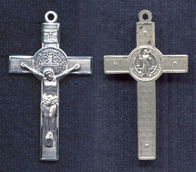 "St. Benedict Crucifix - 1.6"" - Sterling Silver"