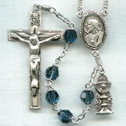 First Communion rosary handmade by nuns, Blue Montana Austrian Crystal beads, sterling silver parts, Holy Eucharist figurine side medal