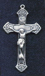 "Clover Crucifix - 1.8"" - Sterling Silver"