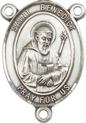 "St. Benedict - .75"" Oval - Pewter Centerpiece"