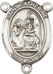 "St. Catherine of Siena - .75"" Oval - Pewter Centerpiece"