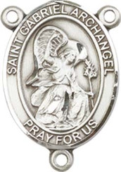 "St. Gabriel the Archangel - .75"" Oval - Pewter Centerpiece"