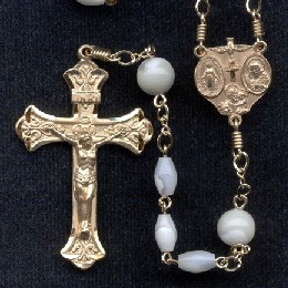 First Communion rosary handmade by nuns, Oval Mother of Pearl beads with Gold Filled parts and 8mm Round Our Father beads