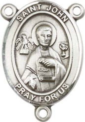 "St. John the Apostle  - .75"" Oval - Pewter Centerpiece"