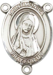 "St. Monica  - .75"" Oval - Pewter Centerpiece"