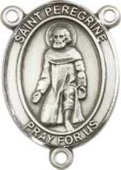 "St. Peregrine Laziosi  - .75"" Oval - Pewter Centerpiece"