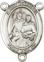 "St. Raphael the Archangel  - .75"" Oval - Pewter Centerpiece"