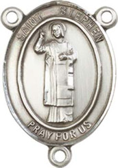 "St. Stephen the Martyr  - .75"" Oval - Pewter Centerpiece"