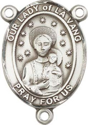 "Our Lady of la Vang  - .75"" Oval - Pewter Centerpiece"