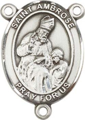 "St. Ambrose - .75"" Oval - Pewter Centerpiece"
