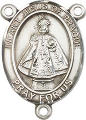 "Infant of Prague - .75"" Oval - Pewter Centerpiece"