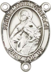 "St. Maria  Goretti  - .75"" Oval - Pewter Centerpiece"