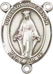 """Our Lady of Lebanon - .75"""" Oval - Pewter Centerpiece"""