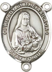 """Our Lady of  the Railroad - .75"""" Oval - Pewter Centerpiece"""