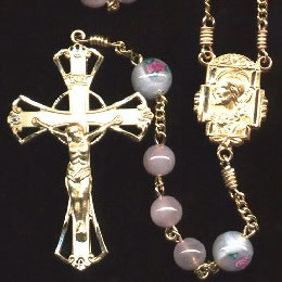 Mother's Day rosary handmade by nuns, Rose Quartz beads, Gold filled parts, White Czech Lampwork Rose Our Father beads