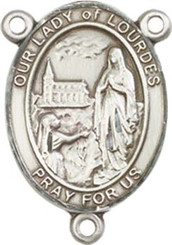 """Our Lady of Lourdes  - .75"""" Oval - Pewter Centerpiece"""