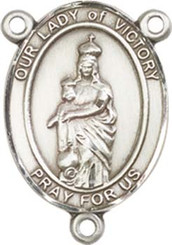 "Our Lady of  Victory - .75"" Oval - Pewter Centerpiece"