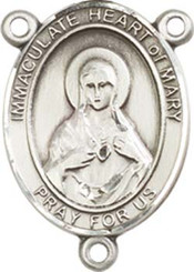 "Immaculate Heart of Mary  - .75"" Oval - Pewter Centerpiece"