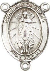 """Our Lady of  Tears - .75"""" Oval - Pewter Centerpiece"""