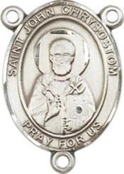 "St. John Chrysostom  - .75"" Oval - Pewter Centerpiece"