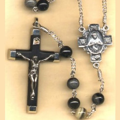 Father's Day rosary handmade by nuns, Silverleaf jasper beads, ebony inlaid crucifix, sterling silver parts