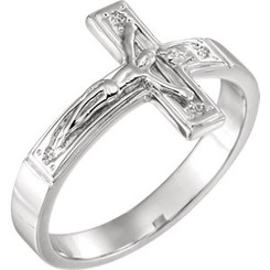 Sterling Silver Crucifix Ring - Ladies