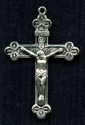 "Fancy Clover Crucifix - 1.75"" - Sterling Silver"