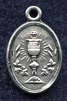 "Holy Eucharist - .50"" oval - Sterling Silver Side Medal"