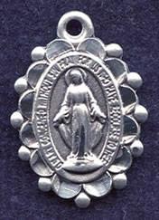 "Fancy Miraculous Medal - .50"" - Sterling Silver Side Medal"